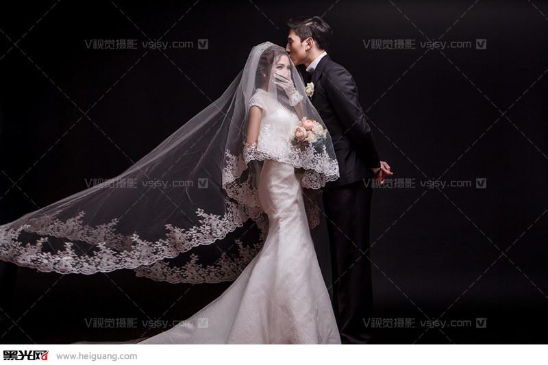 纯色背景内景韩式婚纱照-北京v视觉摄影出品