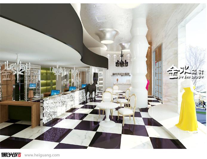 影楼大厅接单等设计施华洛婚纱影楼湖北襄阳店设计。