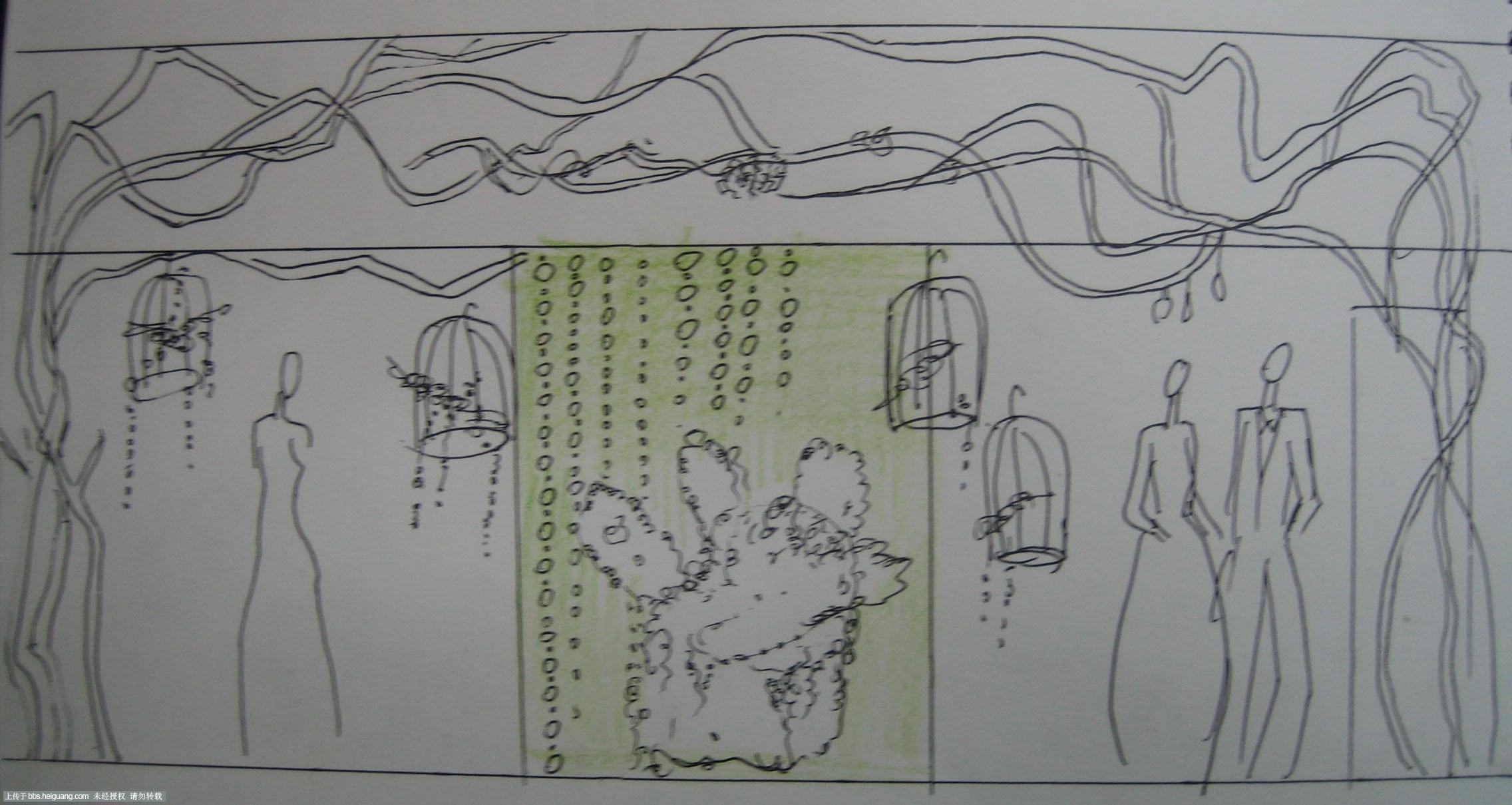 婚纱橱窗设计效果图手绘