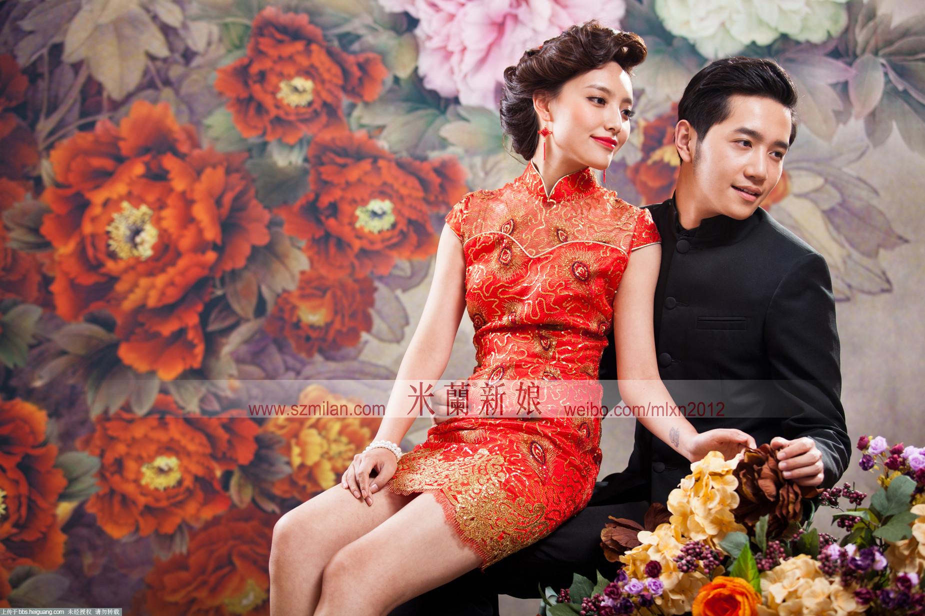 【深圳婚纱摄影米兰新娘】中国古典旗袍图片