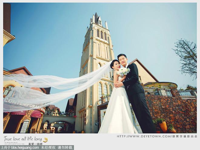 成都外景婚纱照,成都廊桥水乡婚纱照的欧式建筑
