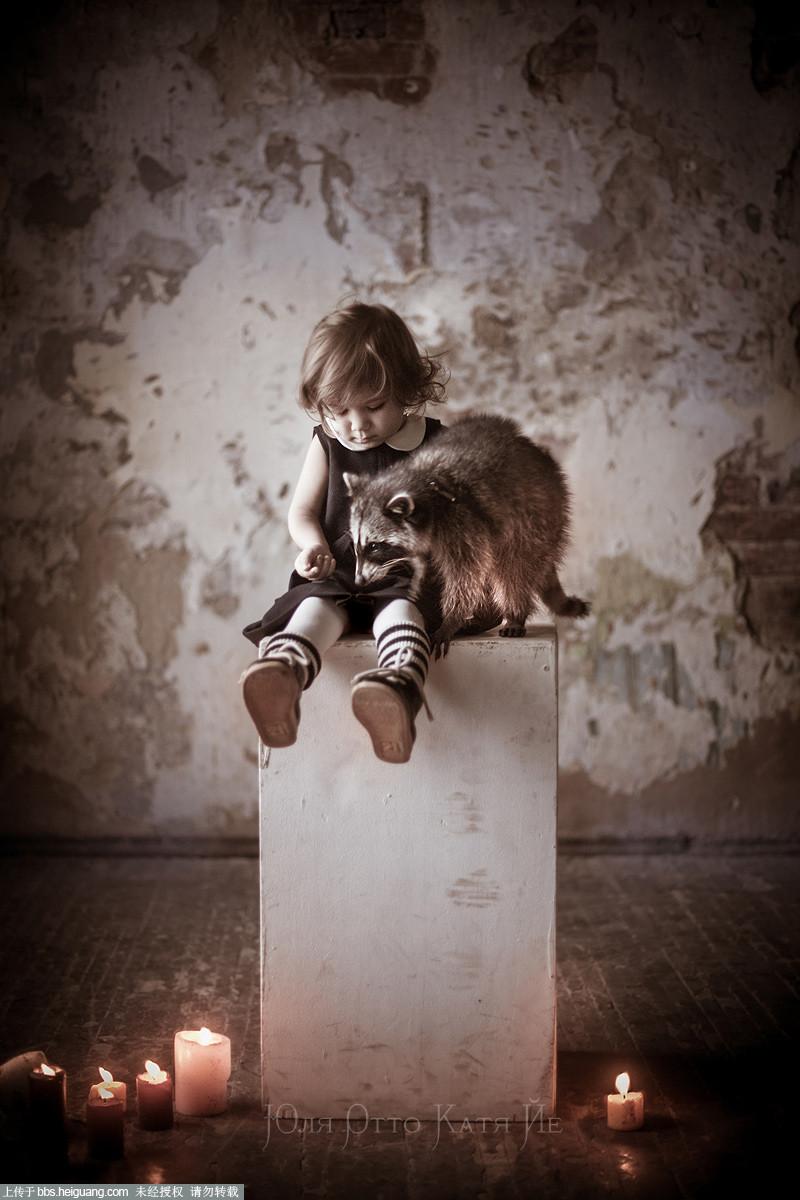 动物儿童摄影作品