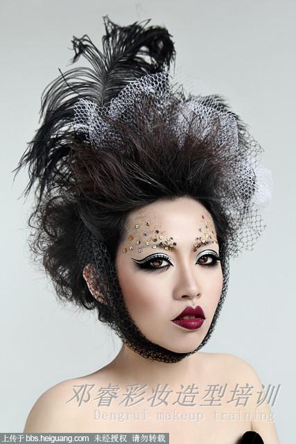 时尚_化妆造型_黑光图库_黑光网; 2014创意妆图片夸张创意妆图片图片