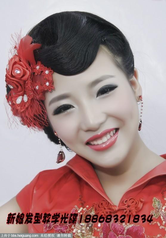 结婚旗袍盘发发型图片展示