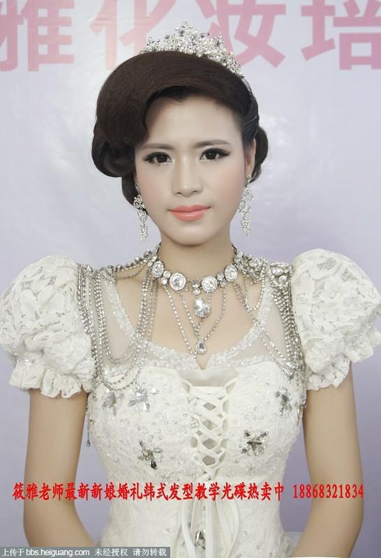 大气时尚欧式范新娘婚礼当天发型图片