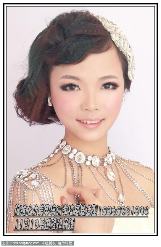 新娘化妆盘发书籍,最新韩式短发新娘发型图片图片