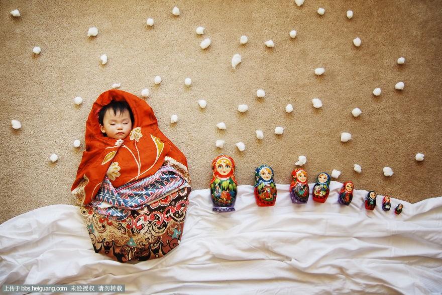 中国妈妈恶搞熟睡宝宝的儿童摄影