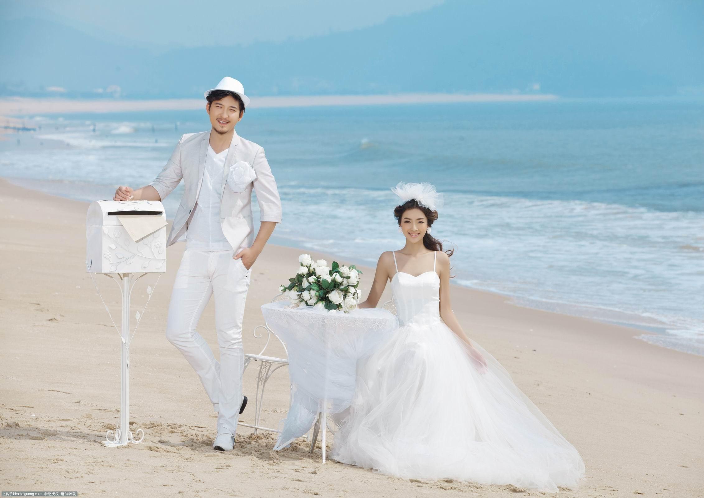【青岛罗曼蒂克婚纱摄影】-海边