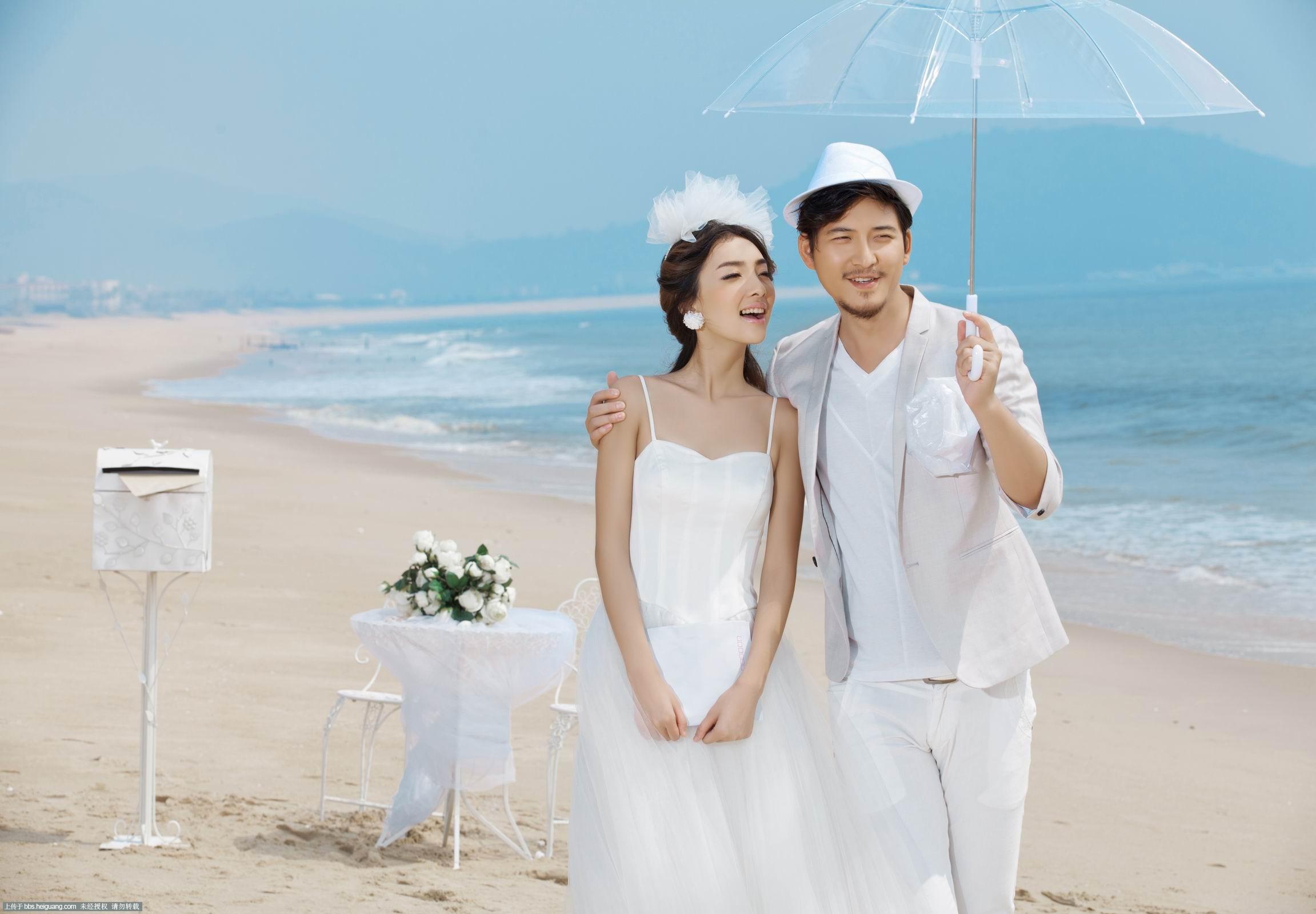 【青岛罗曼蒂克婚纱摄影】-海边_婚纱摄影作品_黑光