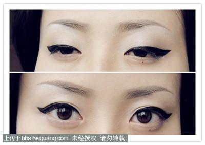 用眼线笔画的,可以看出眼尾的精细度不如眼线液