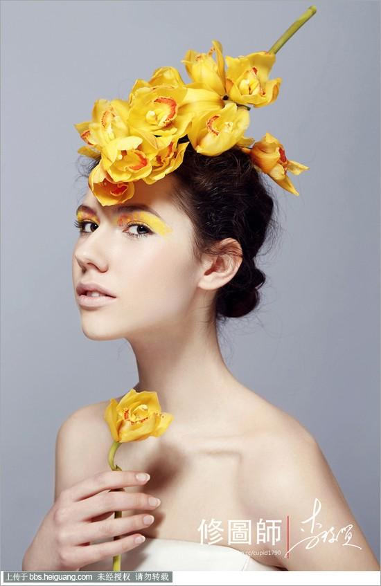 创意感十足的鲜花 彩妆造型,大胆的色彩运用,让整个画面更加的富有图片