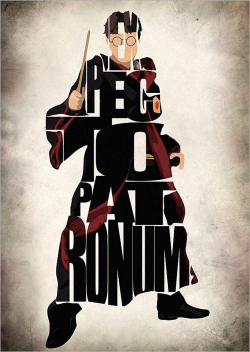 字体组成的英雄人物角色插画设计欣赏