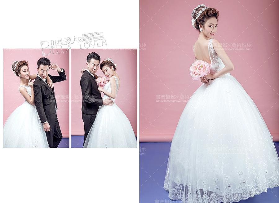 粉色背景婚纱照