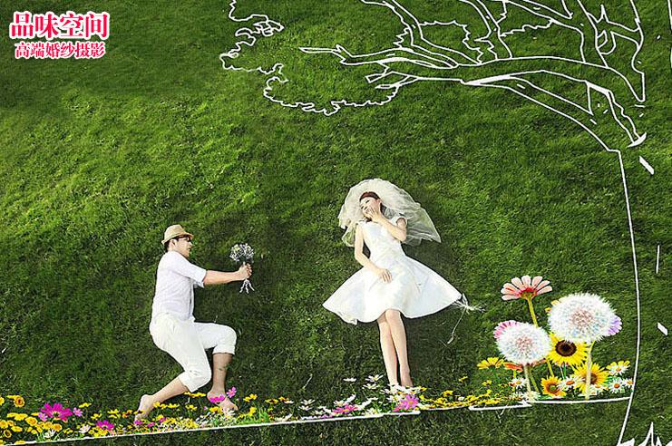婚纱摄影工作室【品味空间】个性涂鸦婚纱照 花1块钱买影楼后期素材