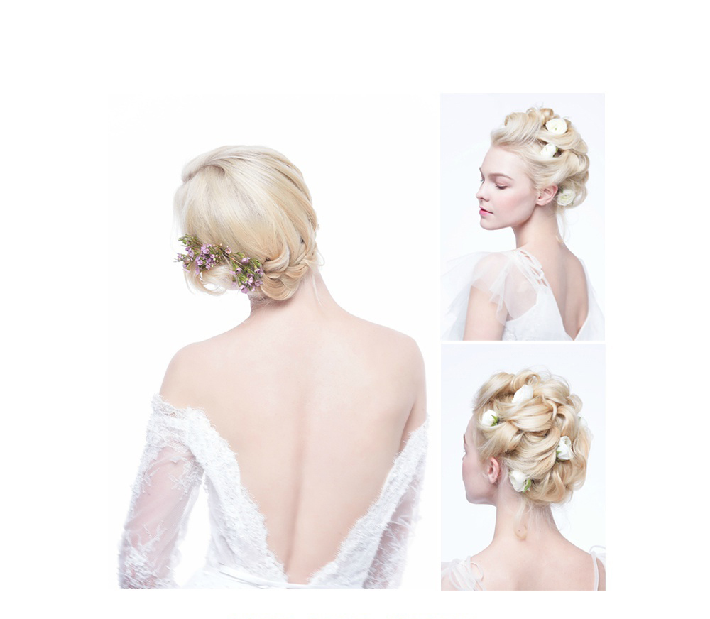 【化妆造型】仙气十足的新娘鲜花造型妆发图片