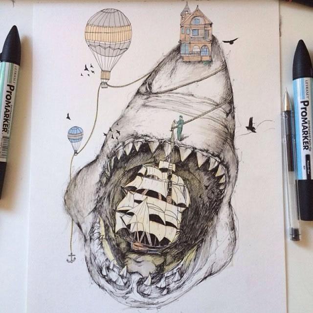 ha超现实风格素描插画作品 数码作品欣赏