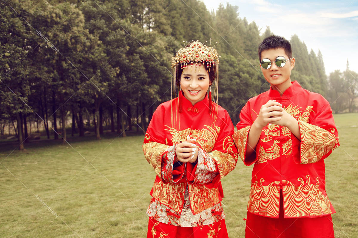 欧式红色礼服婚纱照
