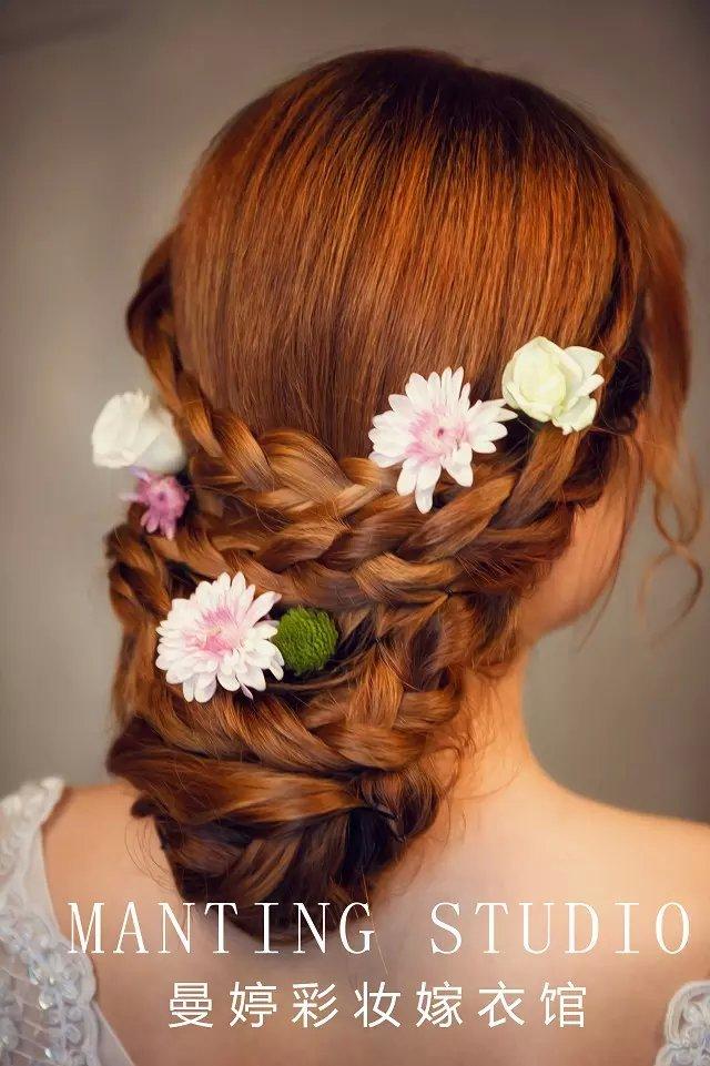 纯鲜花,新娘造型,唯美韩式新娘出门发型篇!