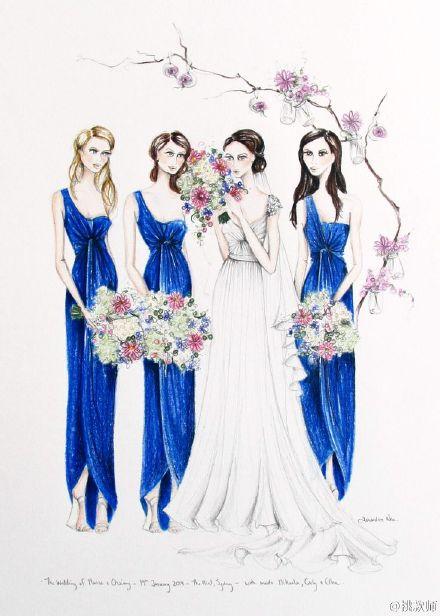 婚纱手绘手稿 每个姑娘都有个公主梦