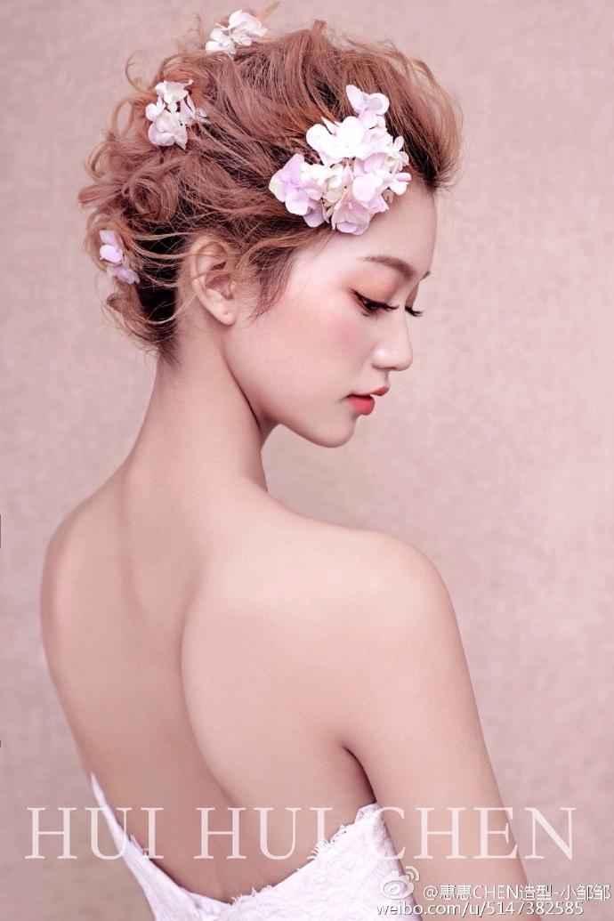 多变的短发新娘造型欣赏图片