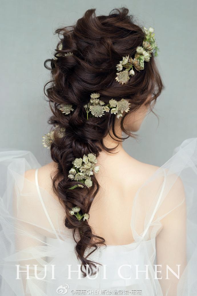 新娘造型 韩式抽丝发型 鲜花 优雅森系新娘,大写的凝然之美图片