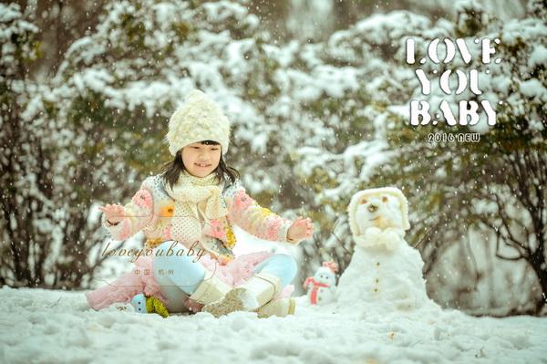 杭州爱你宝贝儿童摄影雪景外景照