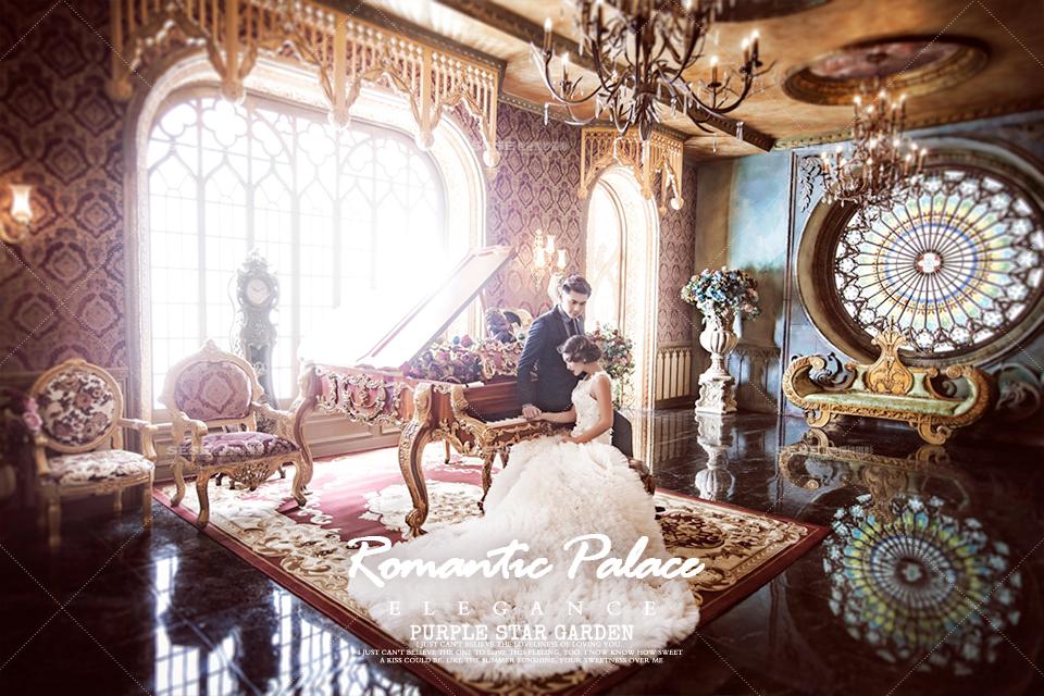 色色奢华复古宫殿内景婚纱照