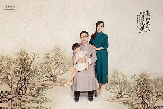 一组全家福工笔画写真 无锡幸福影像婚纱摄影