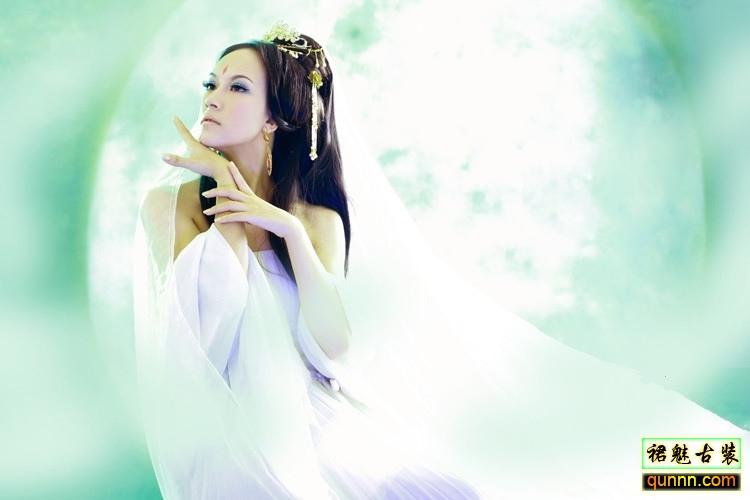 白色古装美女背影手绘